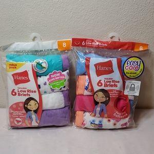 2 packages Hanes girls low rise brief panties